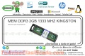 MEM DDR3 2GB 1333 MHZ KINGSTON