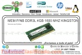MEM. P/NB DDR3L 4GB 1600 MHZ KINGSTON